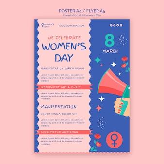 Modelo de pôster lindo para o dia da mulher