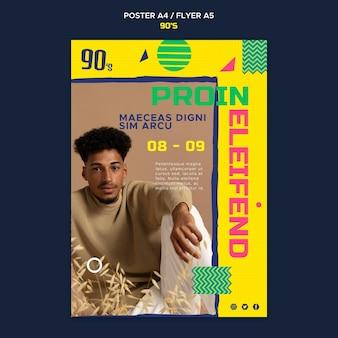 Modelo de pôster nostálgico da moda dos anos 90