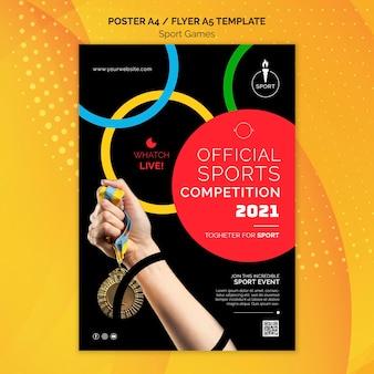 Modelo de pôster oficial da competição esportiva de 2021