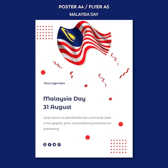 Modelo de pôster ondulado do dia da independência da bandeira da malásia
