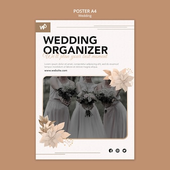 Modelo de pôster organizador de casamento