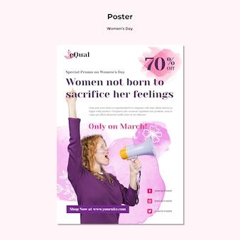 Modelo de pôster para a celebração do dia da mulher