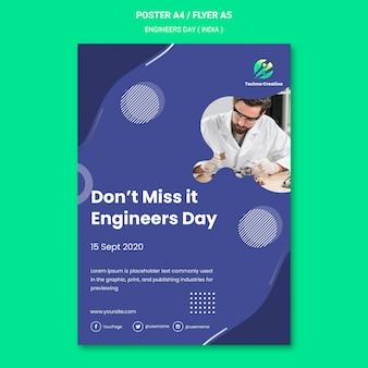 Modelo de pôster para a celebração do dia dos engenheiros