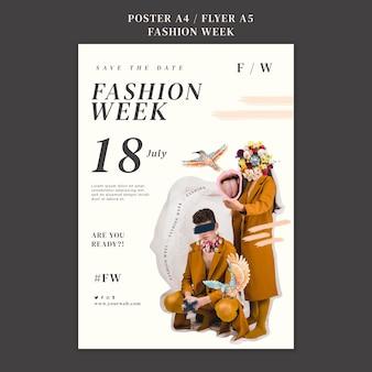 Modelo de pôster para a semana da moda