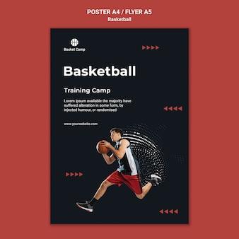 Modelo de pôster para acampamento de treinamento de basquete