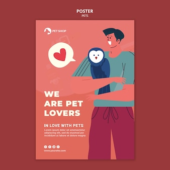 Modelo de pôster para adotar animais de estimação