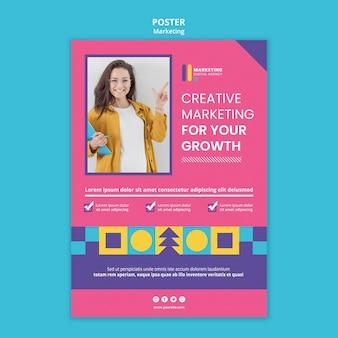 Modelo de pôster para agência de marketing criativo