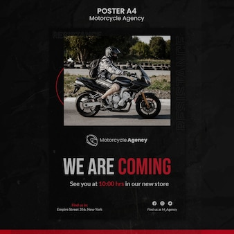 Modelo de pôster para agência de motocicletas com piloto masculino