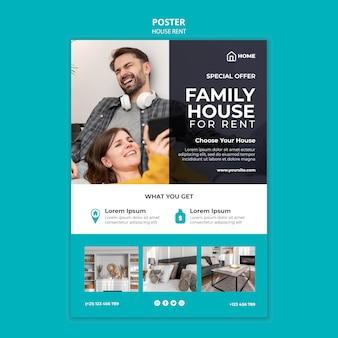 Modelo de pôster para aluguel de casa de família