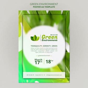 Modelo de pôster para ambiente verde