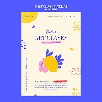 Modelo de pôster para aulas de arte