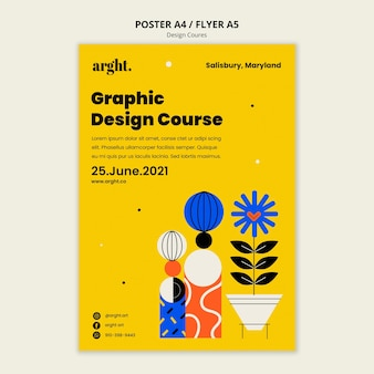 Modelo de pôster para aulas de design gráfico