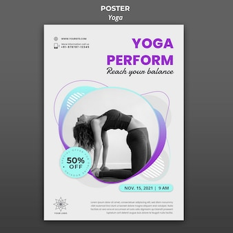 Modelo de pôster para aulas de ioga