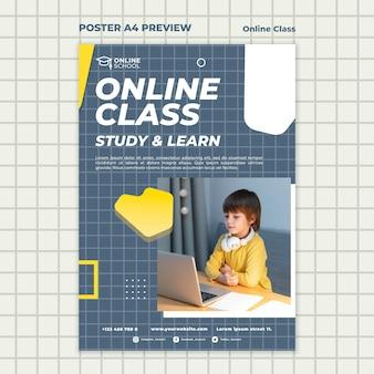 Modelo de pôster para aulas online com crianças