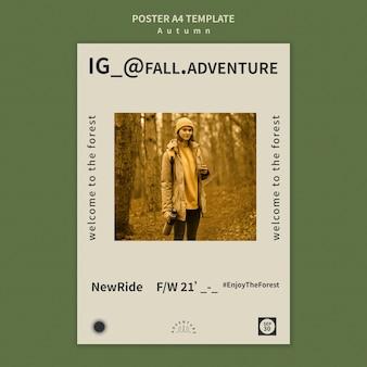 Modelo de pôster para aventura de outono na floresta