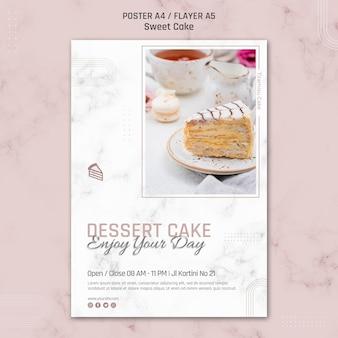 Modelo de pôster para bolo de sobremesa aproveite o dia