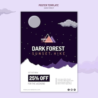 Modelo de pôster para caminhada na floresta escura