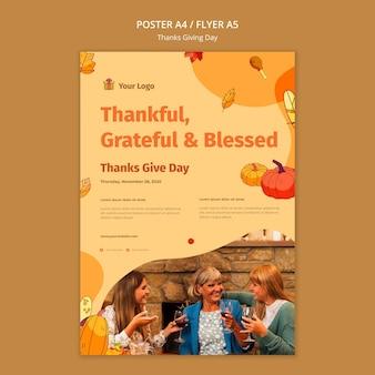 Modelo de pôster para celebração de ação de graças