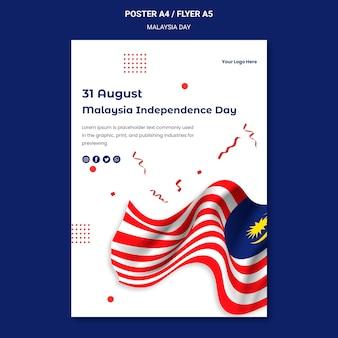 Modelo de pôster para comemorar a independência da malásia