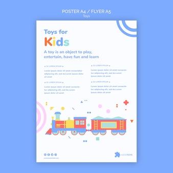 Modelo de pôster para compras online de brinquedos infantis
