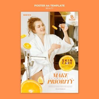 Modelo de pôster para cuidados com a pele de spa em casa com mulher e fatias de laranja