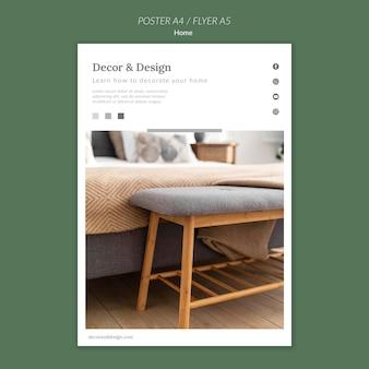Modelo de pôster para decoração e design de casa
