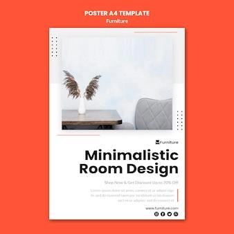Modelo de pôster para designs de móveis minimalistas