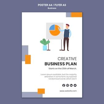 Modelo de pôster para empresa com plano de negócios criativo