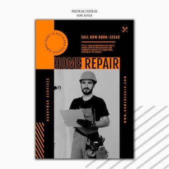 Modelo de pôster para empresa de consertos de casas