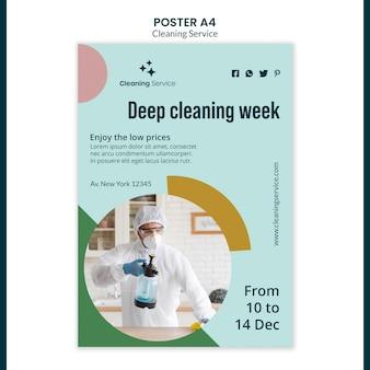 Modelo de pôster para empresa de limpeza doméstica
