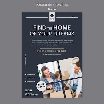 Modelo de pôster para encontrar a casa perfeita