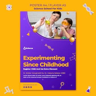 Modelo de pôster para escola de ciências para crianças