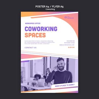 Modelo de pôster para espaço de coworking