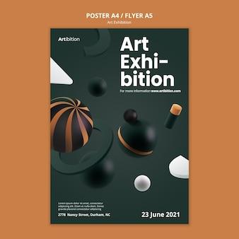 Modelo de pôster para exposição de arte com formas geométricas
