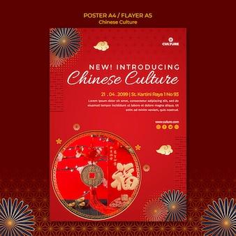 Modelo de pôster para exposição de cultura chinesa