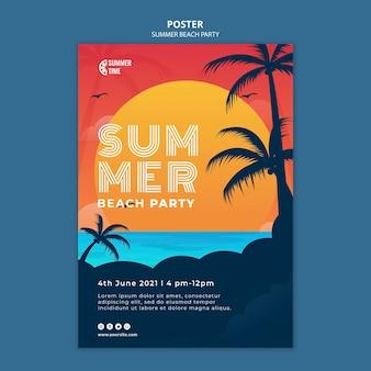 Modelo de pôster para festa de verão na praia