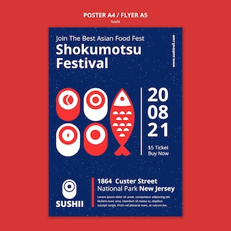 Modelo de pôster para festival de comida japonesa com sushi