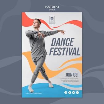 Modelo de pôster para festival de dança