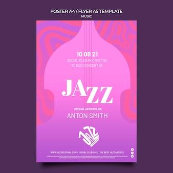 Modelo de pôster para festival de jazz e clube