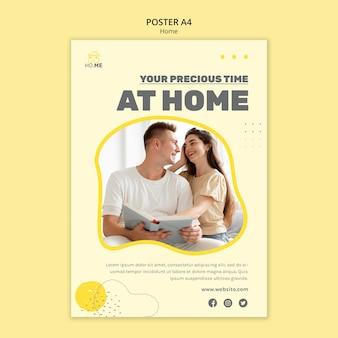 Modelo de pôster para ficar em casa