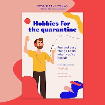 Modelo de pôster para hobbies durante quarentena