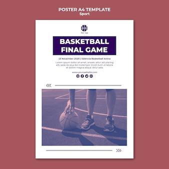 Modelo de pôster para jogar basquete