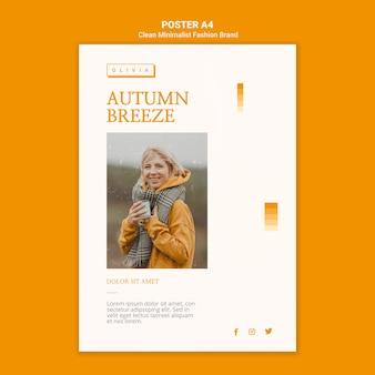 Modelo de pôster para marca de moda de outono minimalista