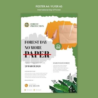 Modelo de pôster para o dia da floresta com a natureza