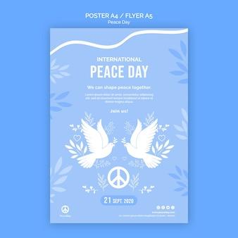 Modelo de pôster para o dia da paz