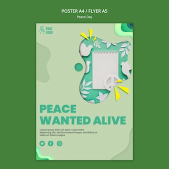 Modelo de pôster para o dia internacional da paz