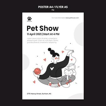 Modelo de pôster para o dia nacional do animal de estimação com dona e animal de estimação