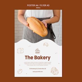 Modelo de pôster para padaria de pão