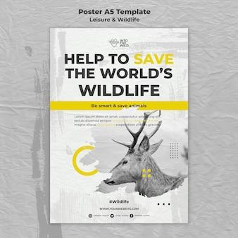Modelo de pôster para proteção da vida selvagem e meio ambiente