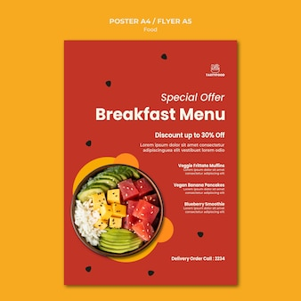 Modelo de pôster para restaurante com tigela de comida saudável